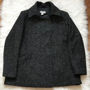 Barney's Tweed Black & Gray Wool Coat